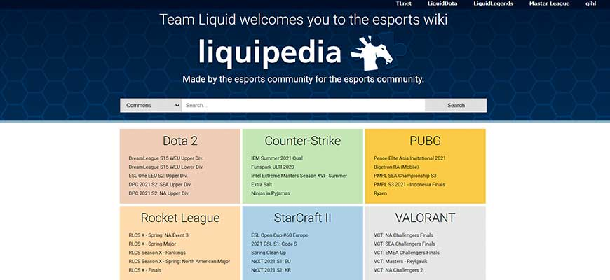 главная страница liquipedia.net
